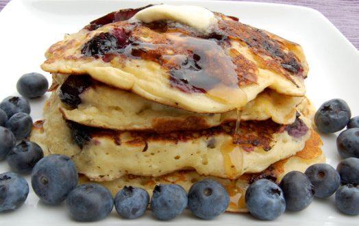 Blueberry pancakes with buckwheat