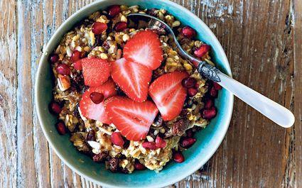 Breakfast granola and strawberries