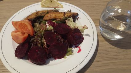 Mackerel and beetroot salad