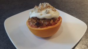 Roasted red grapefruit with granola and greek yoghurt