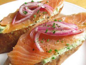 Healthy salmon toastie