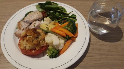 Tuna steaks with stuffed red peppers and veg